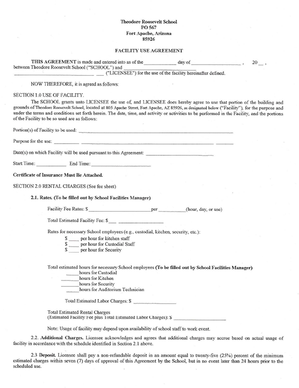 Theodore Roosevelt School facility use agreement form (image)