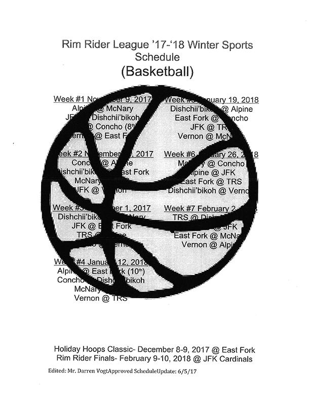 Theodore Roosevelt School Basketball schedule (image)