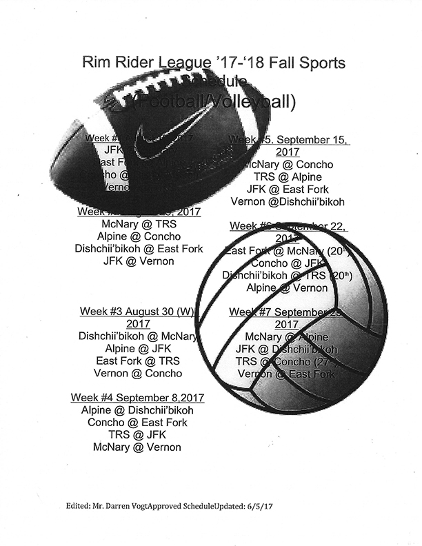 Theodore Roosevelt School Football & Volleyball schedule (image)