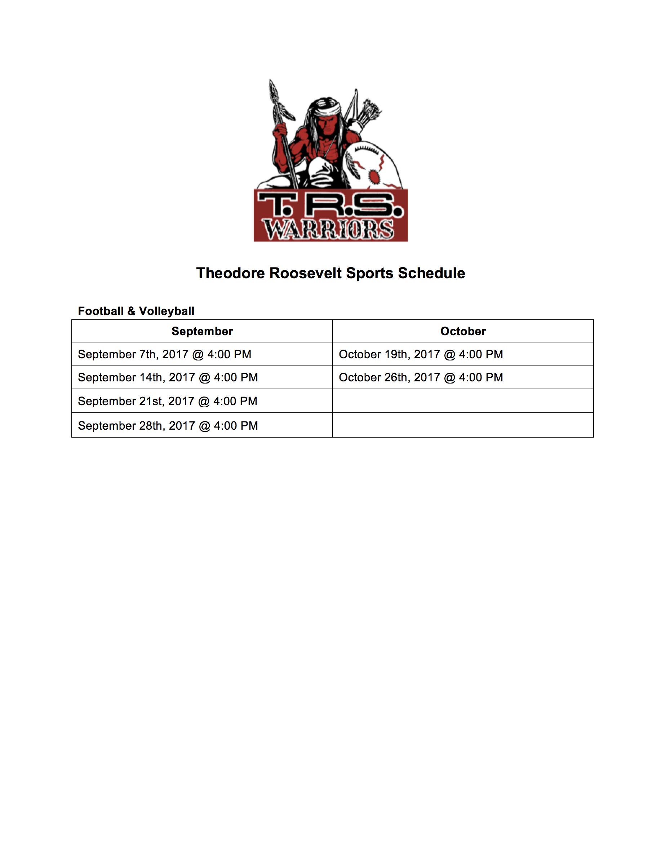 Theodore Roosevelt School Sports Calendar (image)